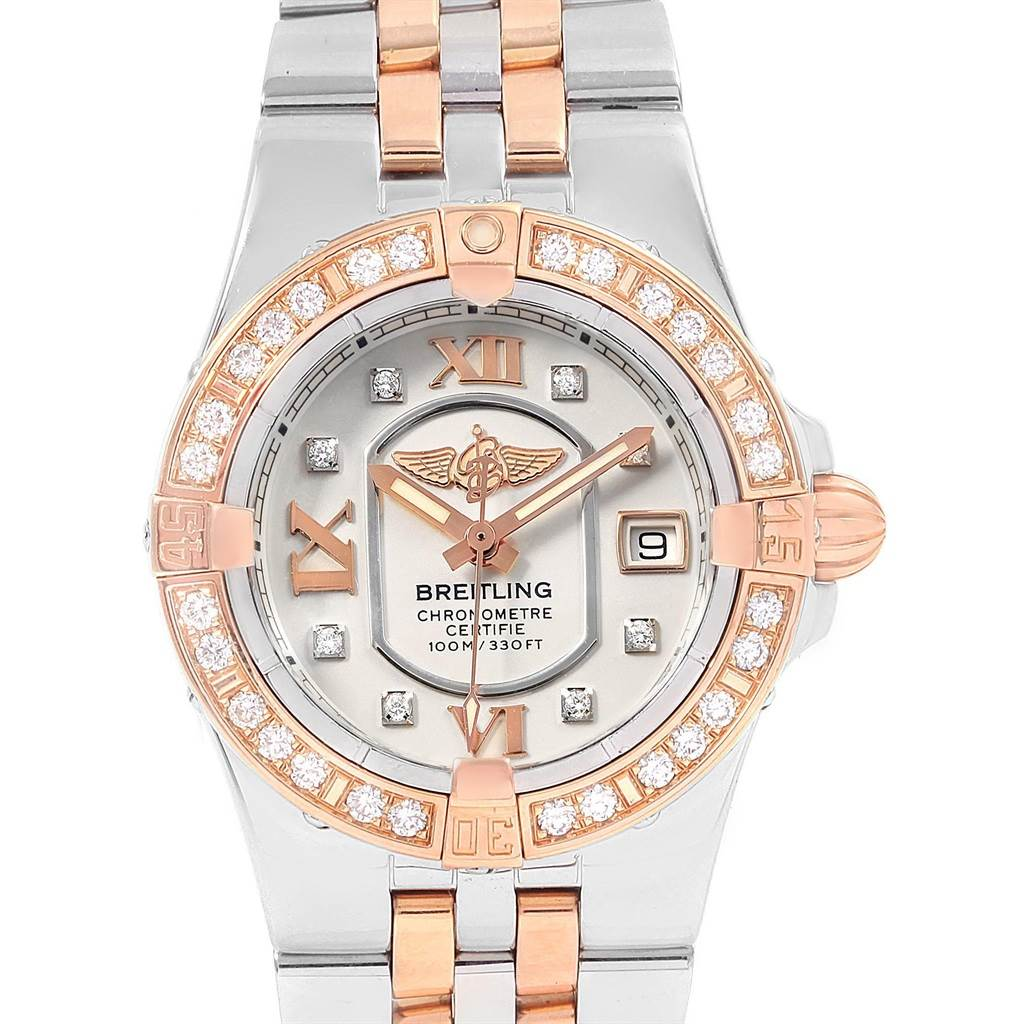 20475 Breitling Galactic 30 Steel Rose Gold Diamond Womens Watch C71340 SwissWatchExpo