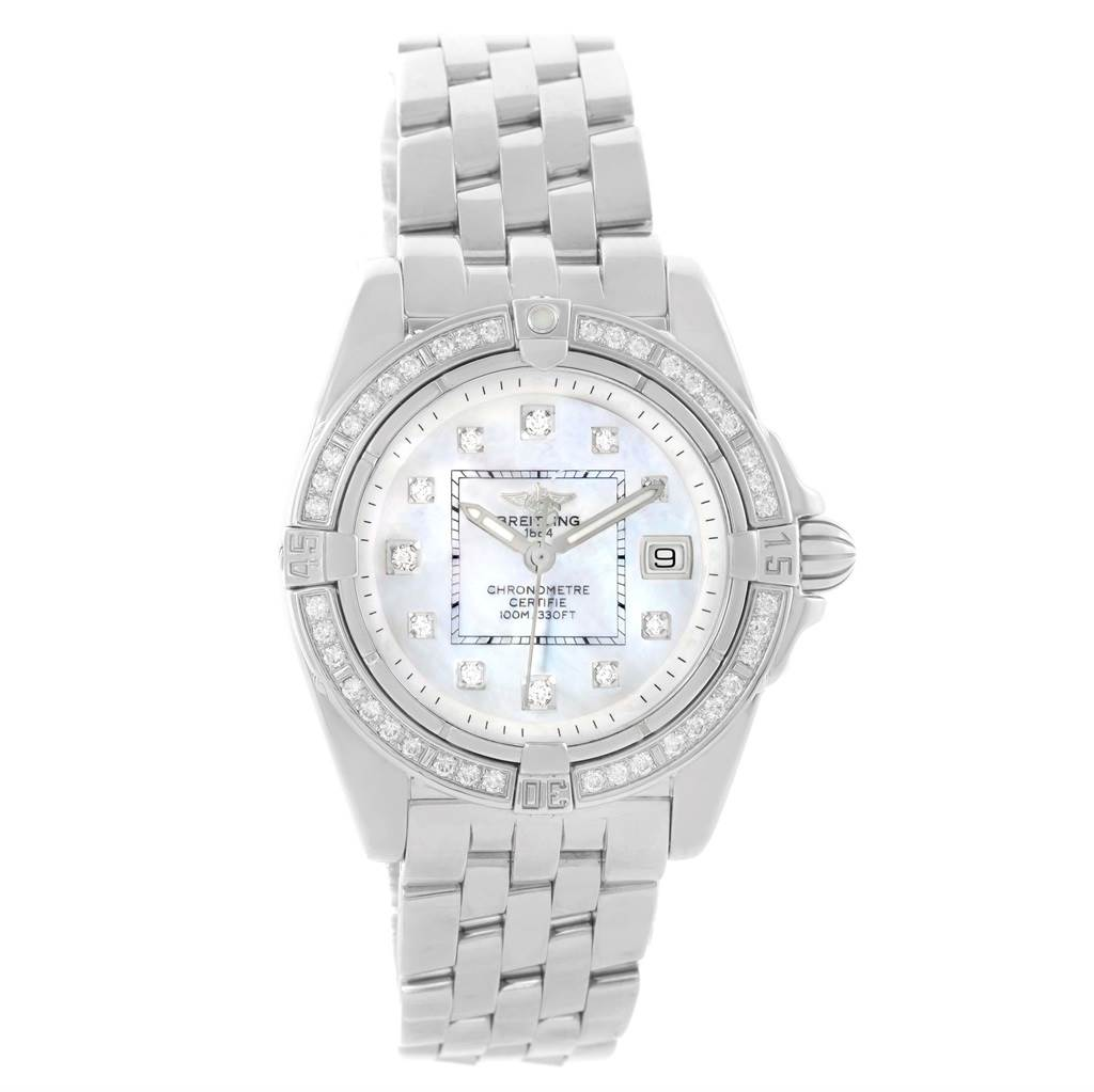 Breitling Cockpit Mother Pearl Diamond Dial Bezel Ladies Watch A71356 SwissWatchExpo