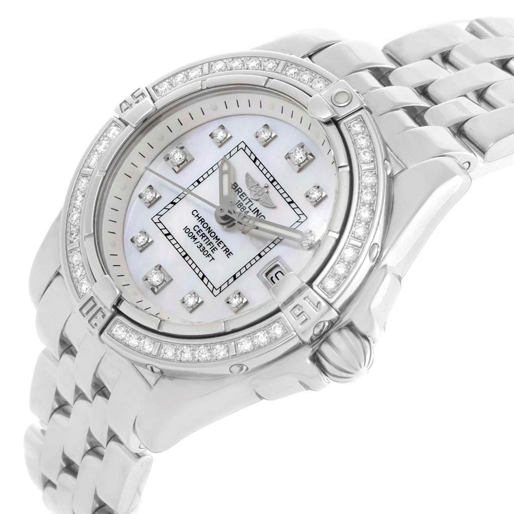 20686 Breitling Cockpit Mother Pearl Diamond Dial Bezel Ladies Watch A71356 SwissWatchExpo