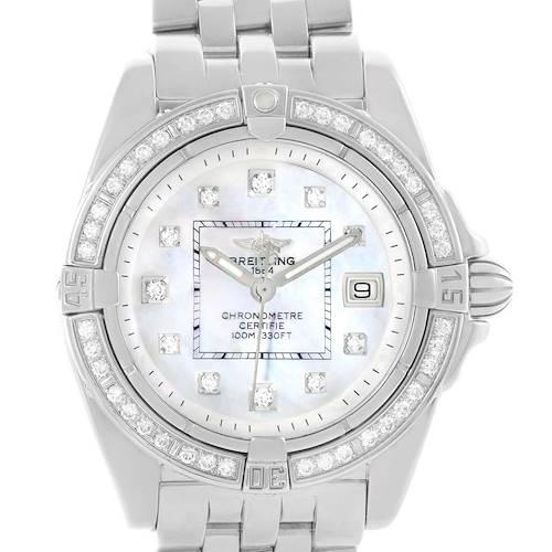Photo of Breitling Cockpit Mother Pearl Diamond Dial Bezel Ladies Watch A71356