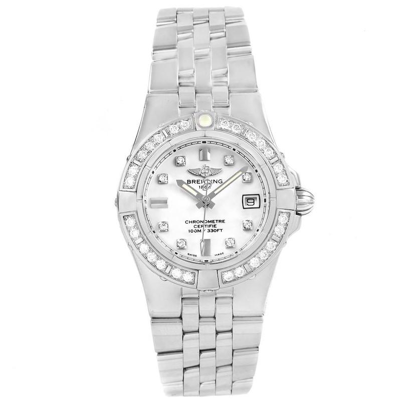 Breitling Starliner Diamond Dial Bezel Steel Ladies Watch A71340 SwissWatchExpo