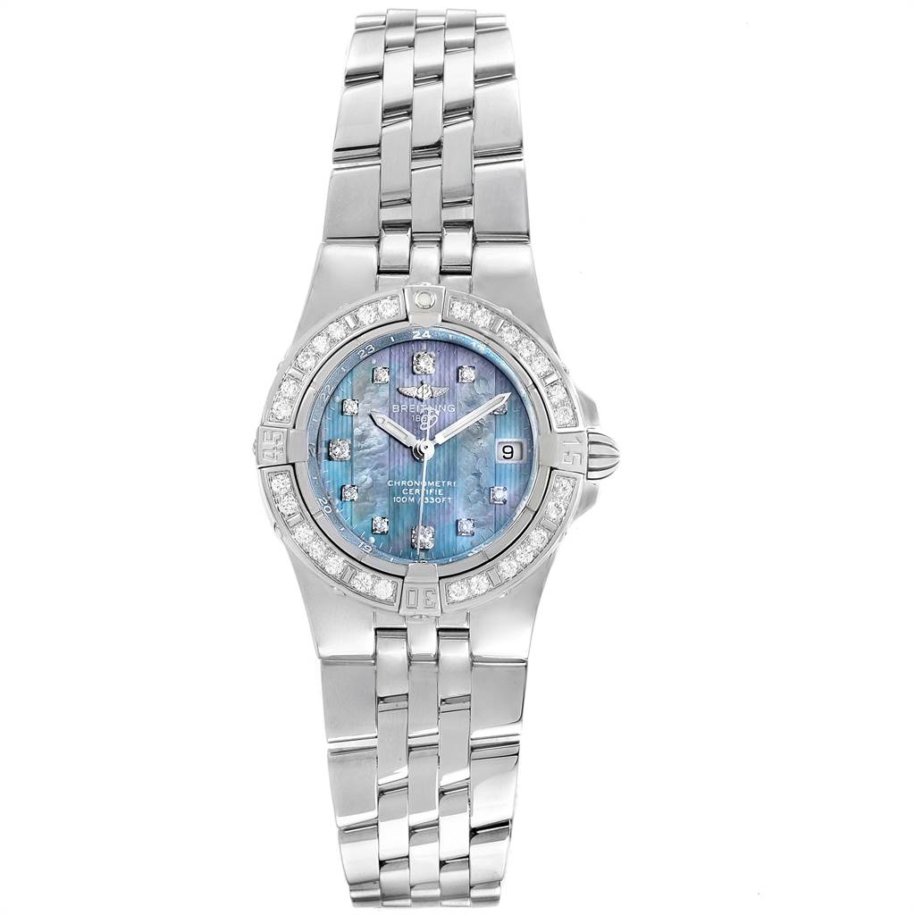 22538 Breitling Starliner Blue Mother of Pearl Diamond Ladies Watch A71340 SwissWatchExpo