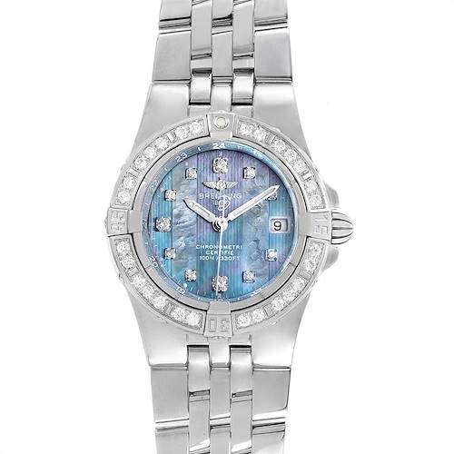 Breitling Starliner Steel Mother of Pearl Diamond Ladies Watch A71340