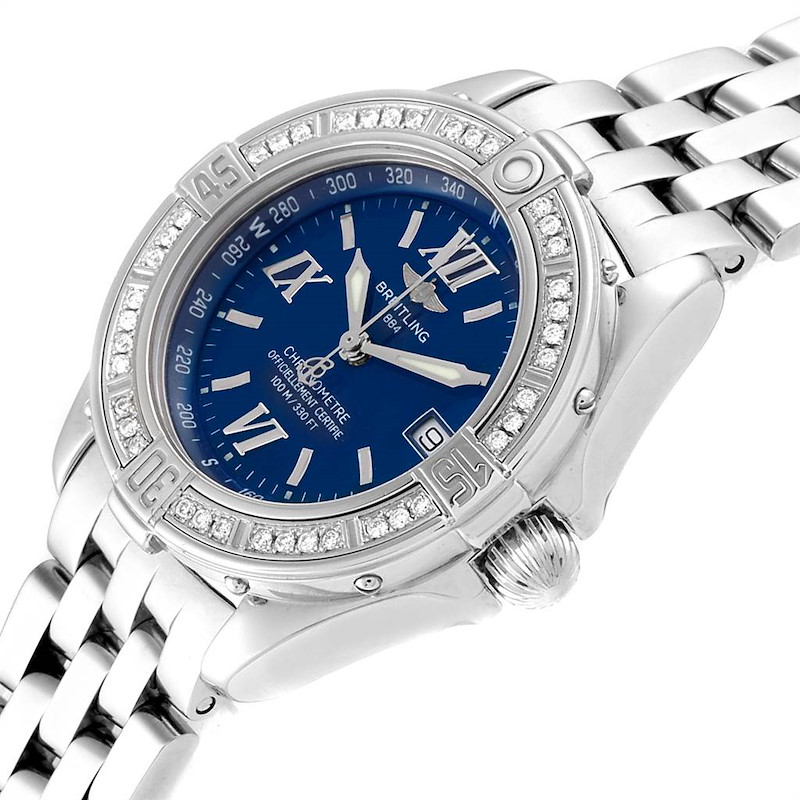 Breitling Windrider Cockpit Blue Dial Diamond Ladies Watch A67365 SwissWatchExpo