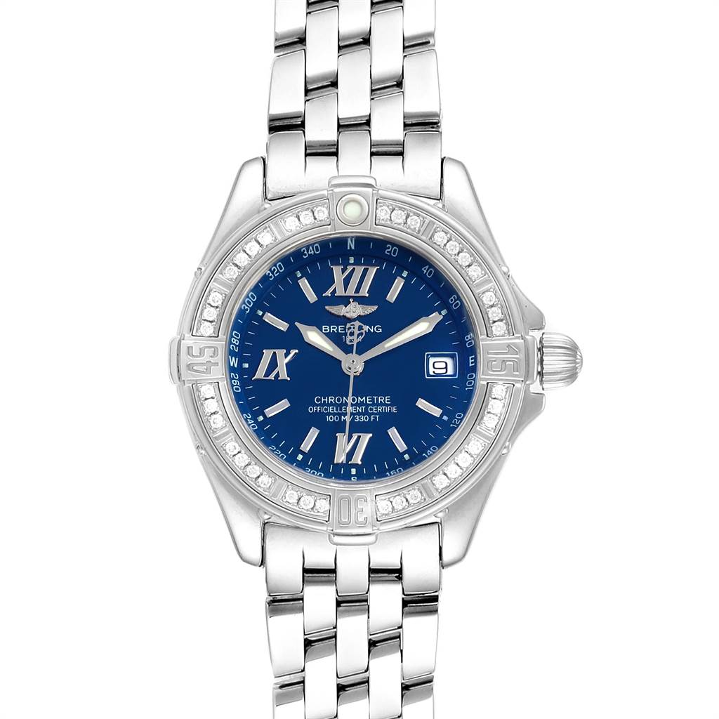 23583 Breitling Windrider Cockpit Blue Dial Diamond Ladies Watch A67365 SwissWatchExpo