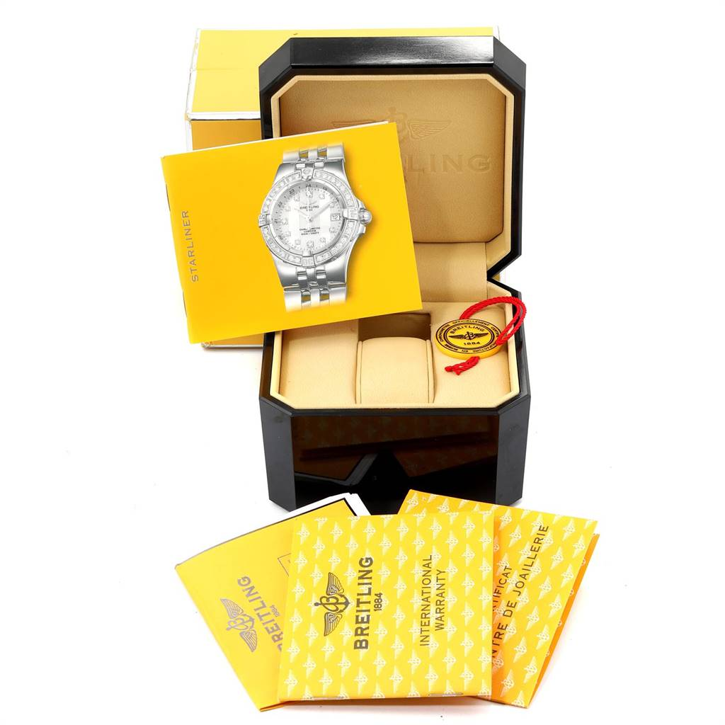 24158 Breitling Starliner Blue MOP Diamonds Ladies Watch A71340 Box Papers SwissWatchExpo