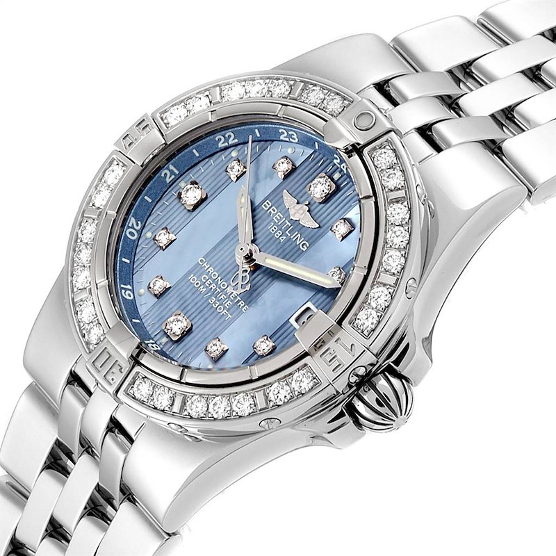 Breitling Starliner Blue MOP Diamonds Ladies Watch A71340 Box Papers SwissWatchExpo