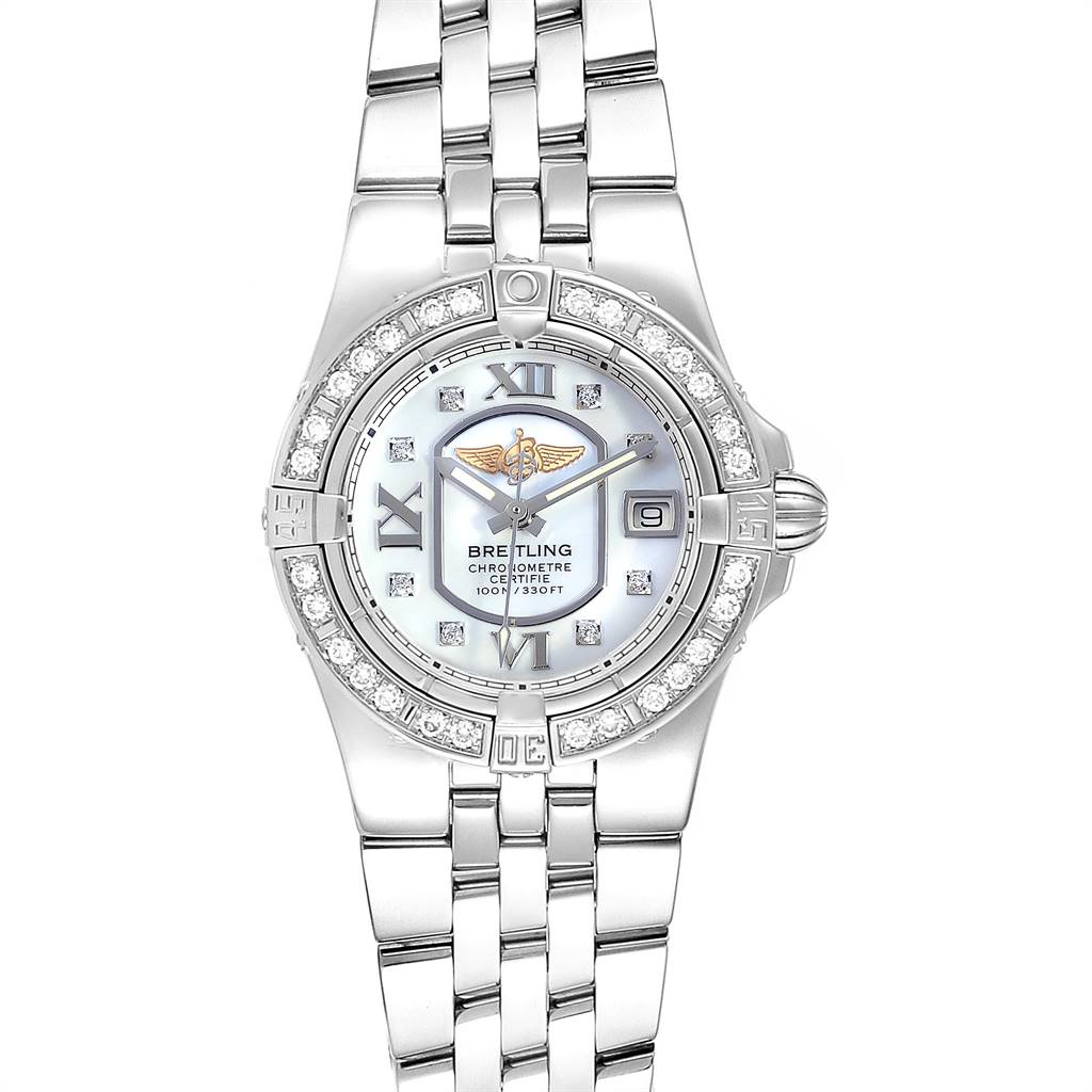 24160 Breitling Starliner 30mm Mother of Pearl Diamond Ladies Watch A71340 SwissWatchExpo