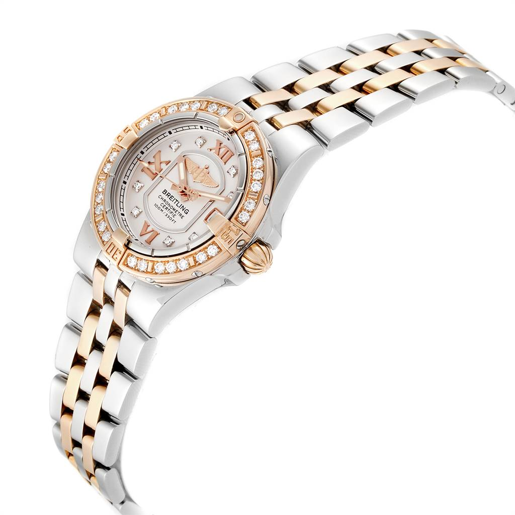 24679 Breitling Galactic 30 Steel Rose Gold Diamond Womens Watch C71340 SwissWatchExpo