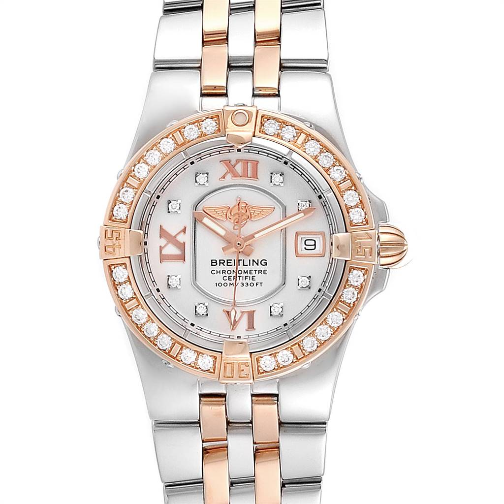 Breitling Galactic 30 Steel Rose Gold Diamond Womens Watch C71340 SwissWatchExpo
