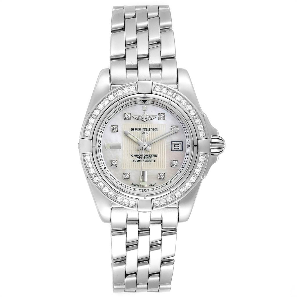 24462 Breitling Cockpit MOP Diamond Dial Bezel Ladies Watch A71356 Box Papers SwissWatchExpo