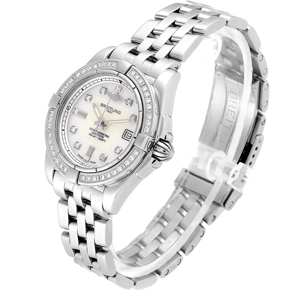 Breitling Cockpit Mother of Pearl Diamond Ladies Watch A71356 Box Papers SwissWatchExpo