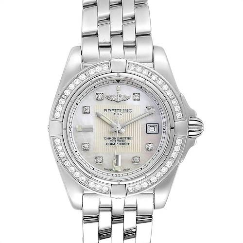 Photo of Breitling Cockpit Mother of Pearl Diamond Ladies Watch A71356 Box Papers