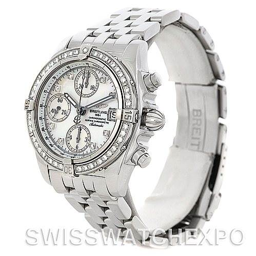 5194 Breitling Ladies Windrider Cockpit MOP Diamond Watch A13358 SwissWatchExpo