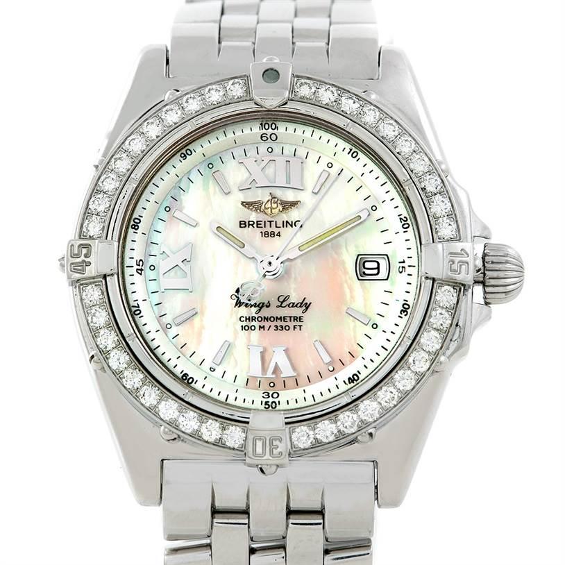 7085 Breitling Windrider Wings Ladies MOP Diamond Watch A67350 SwissWatchExpo