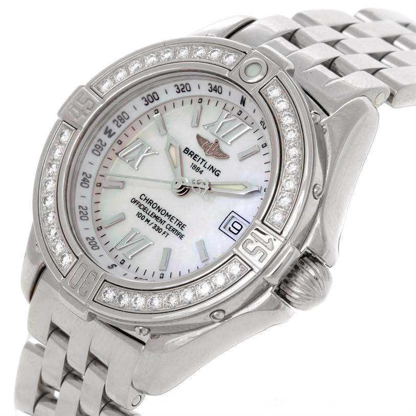 8888 Breitling Windrider Cockpit Ladies Diamond Watch A67365 SwissWatchExpo