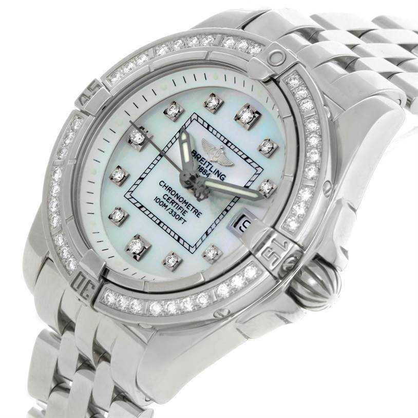 9150 Breitling Windrider Cockpit Ladies MOP Diamond Watch A71356 SwissWatchExpo