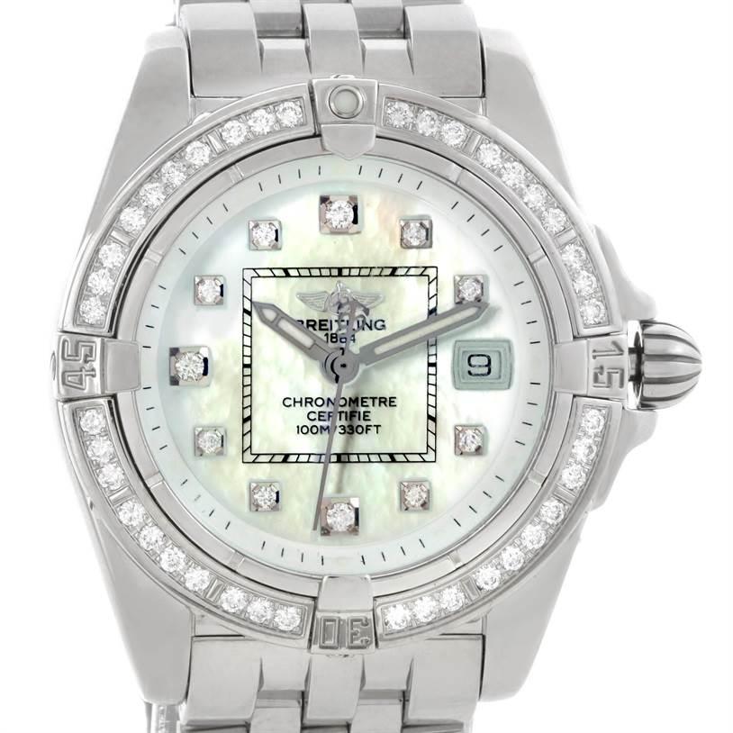 9150 Breitling Windrider Cockpit Ladies MOP Diamond Watch A71356 SwissWatchExpo
