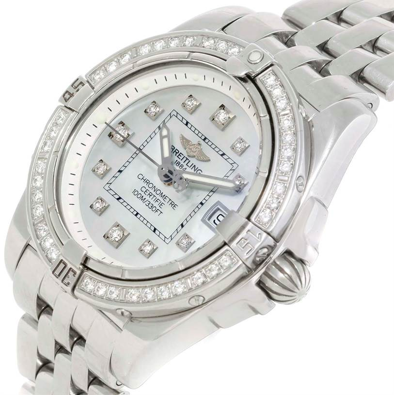 9767 Breitling Windrider Cockpit Ladies Mother Pearl Diamond Watch A71356 SwissWatchExpo