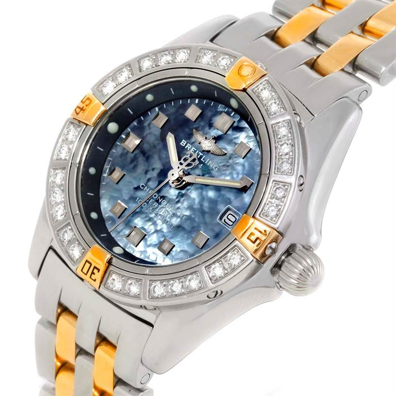 9768 Breitling Callisto Ladies Mother of Pearl Diamond Watch A72345 SwissWatchExpo