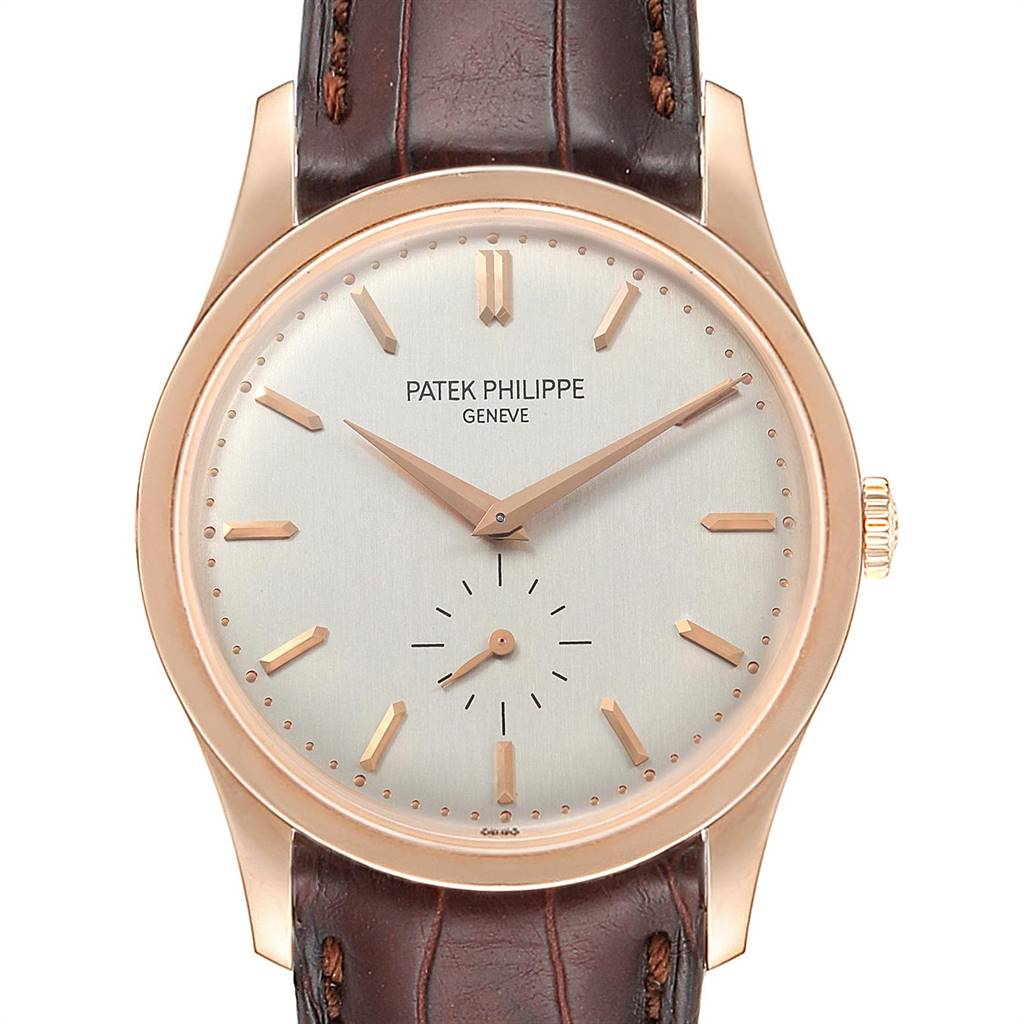 Photo of Patek Philippe Calatrava 37mm Silver Dial Rose Gold Mens Watch 5196