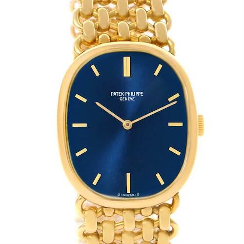 Photo of Patek Philippe Golden Ellipse 18k Yellow Gold Blue Dial Watch 3648