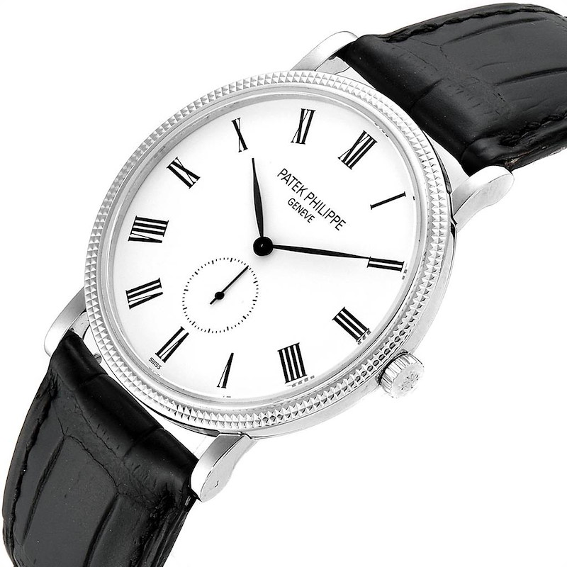Patek Philippe Calatrava 18k White Gold Hobnail Bezel Mens Watch 5119 SwissWatchExpo