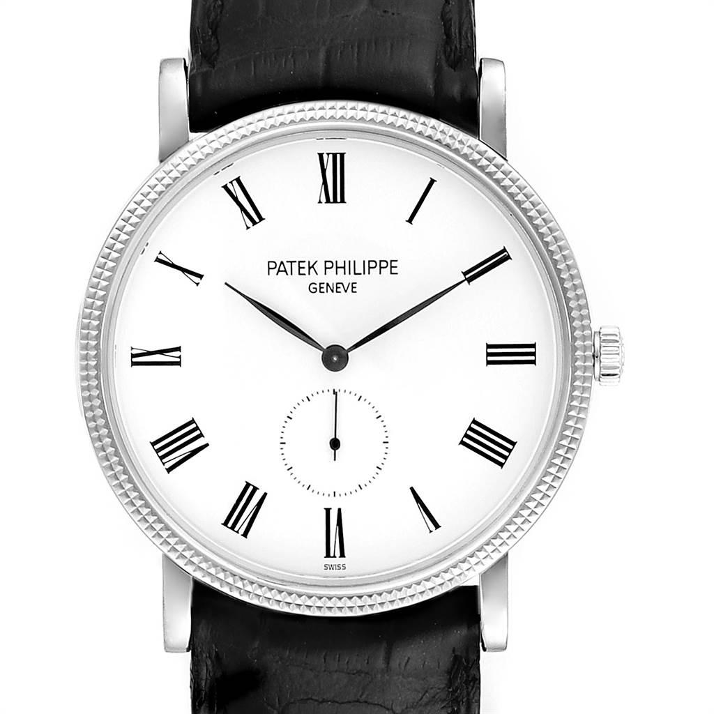 Patek Philippe Calatrava 18k White Gold Hobnail Bezel Mens Watch 5119
