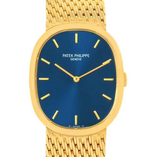 Photo of Patek Philippe Golden Ellipse 18k Yellow Gold Blue Dial Watch 3748