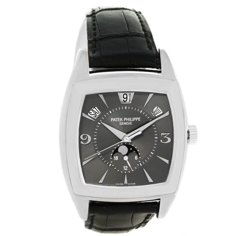 12621P Patek Philippe Gondolo Annual Calendar Deployent Clasp White Gold Watch 5135 SwissWatchExpo