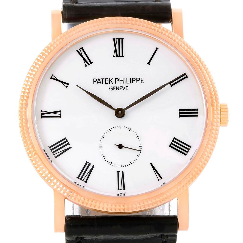 13349 Patek Philippe Calatrava 18k Rose Gold White Dial Watch 5119R SwissWatchExpo