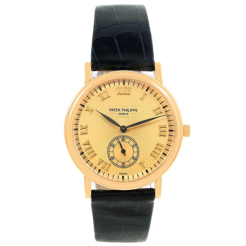 16708 Patek Philippe Calatrava Officier Yellow Gold Manual Wind Watch 5022 SwissWatchExpo