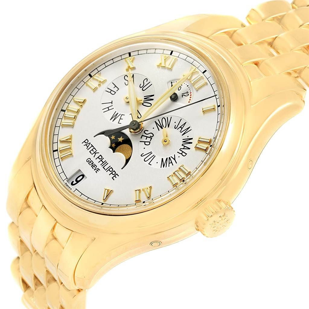 Patek philippe annual calendar moonphase yellow gold watch 5036 box papers for Patek philippe moonphase