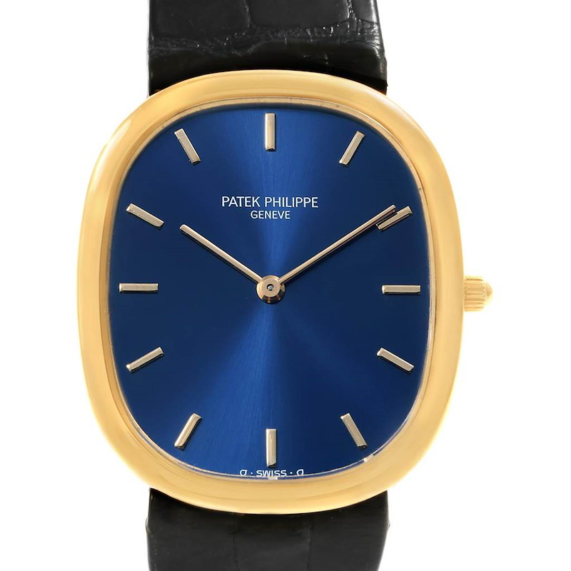 Patek Philippe Golden Ellipse Yellow Gold Blue Dial Watch 3738 Box SwissWatchExpo