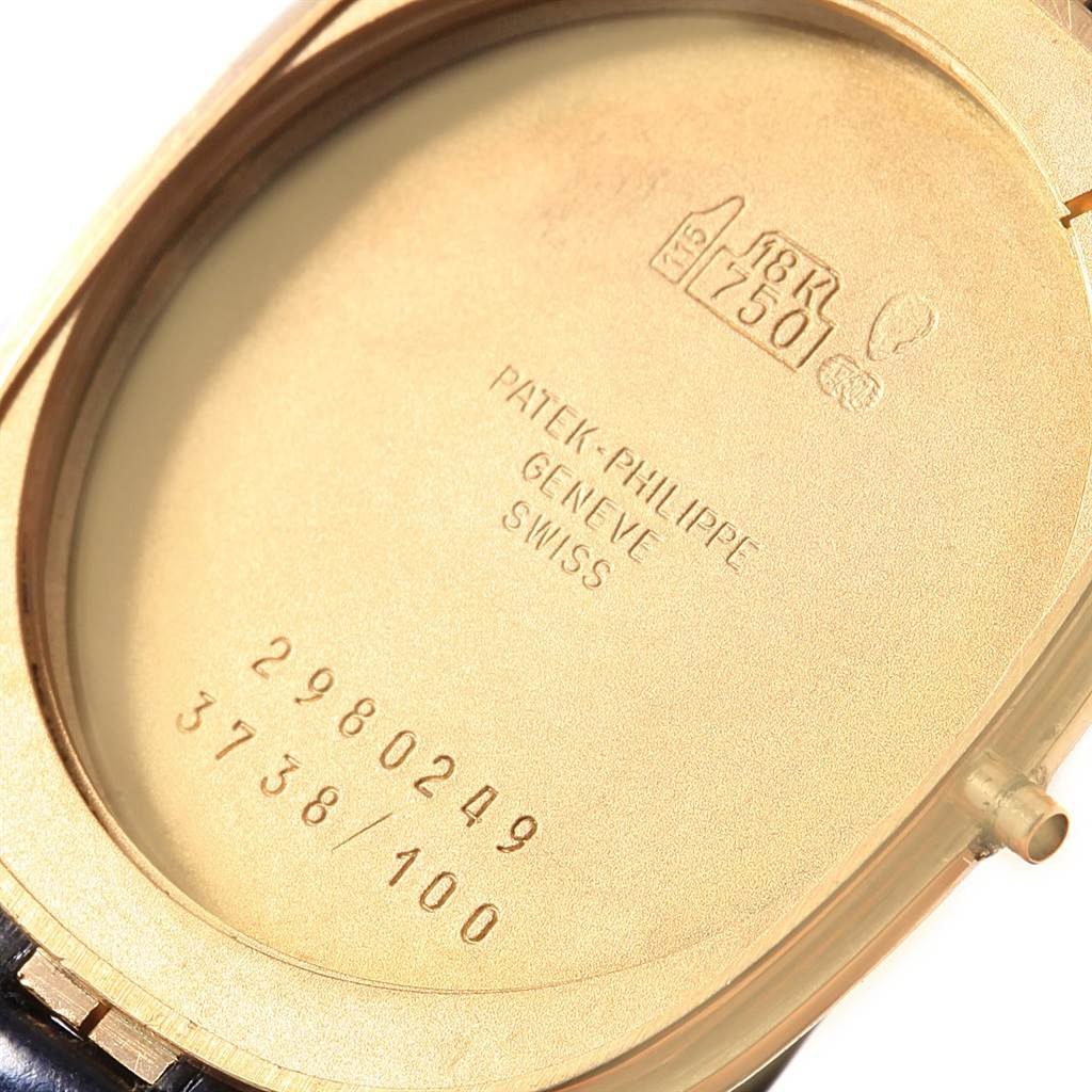 18411 Patek Philippe Golden Ellipse Yellow Gold Blue Dial Watch 3738 Box SwissWatchExpo