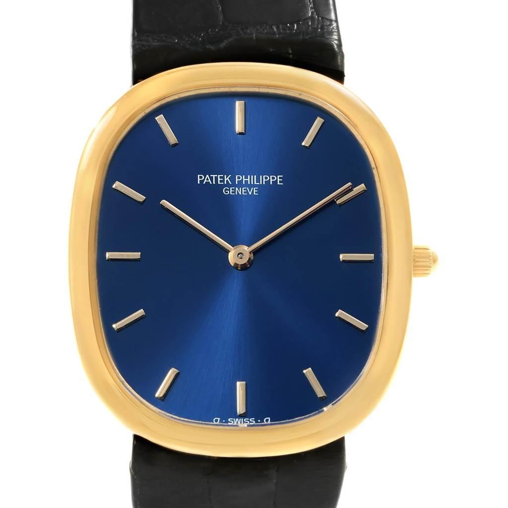 18411 Patek Philippe Golden Ellipse Yellow Gold Blue Dial Watch 3738 Box SwissWatchExpo