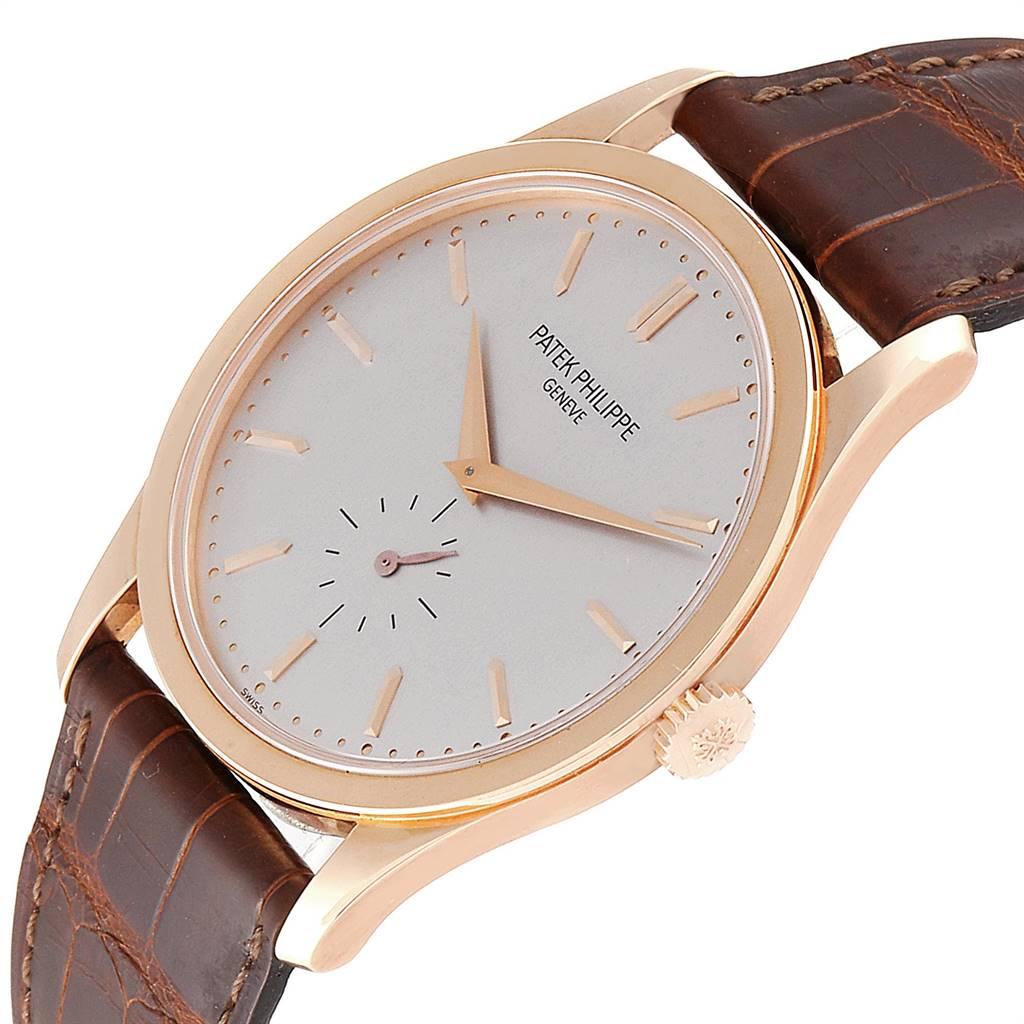 Patek Philippe Calatrava 18k Rose Gold Silver Dial Mens Watch 5196R SwissWatchExpo