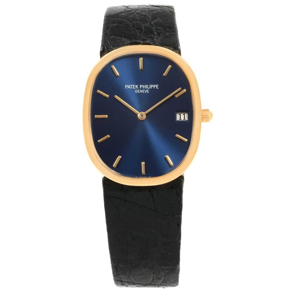 19095 Patek Philippe Golden Ellipse Yellow Gold Blue Dial Watch 3788 SwissWatchExpo