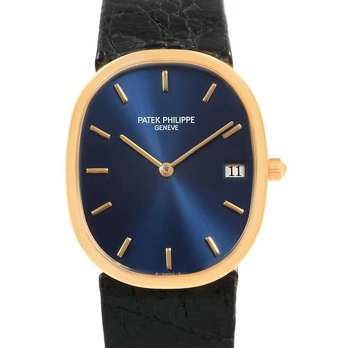 Photo of Patek Philippe Golden Ellipse Yellow Gold Blue Dial Watch 3788