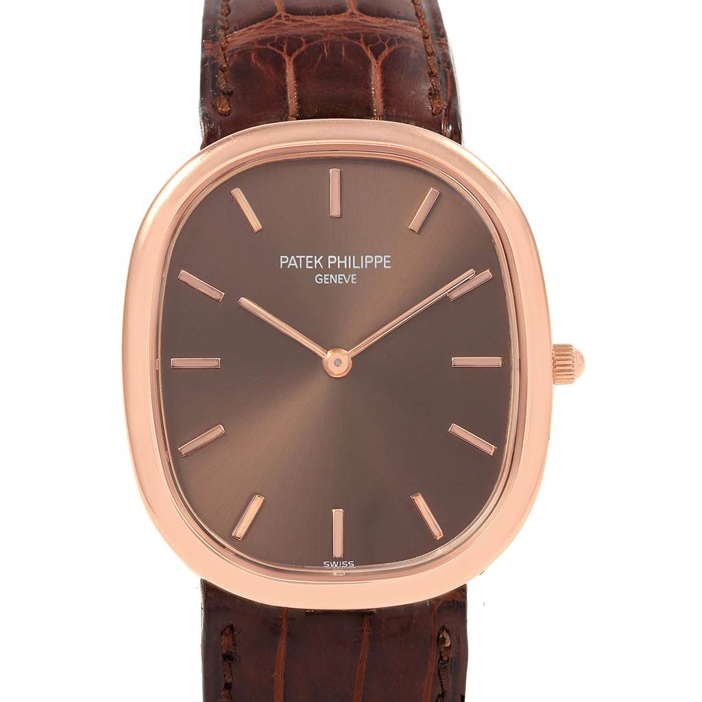 Patek Philippe Golden Ellipse Rose Gold Brown Dial Watch 3738 Box Papers SwissWatchExpo