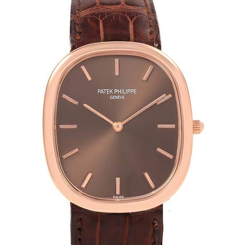 Photo of Patek Philippe Golden Ellipse Rose Gold Brown Dial Watch 3738 Box Papers