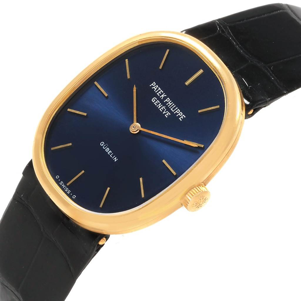 20252 Patek Philippe Golden Ellipse 18k Yellow Gold Blue Dial Mens Watch 3848 SwissWatchExpo