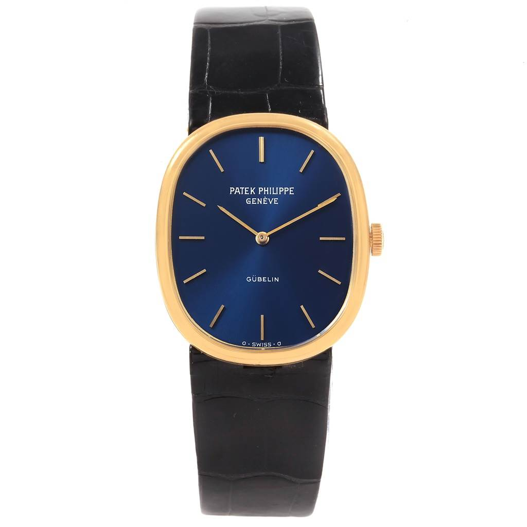 20252 Patek Philippe Golden Ellipse 18k Yellow Gold Blue Dial Mens Watch 3848 SwissWatchExpo
