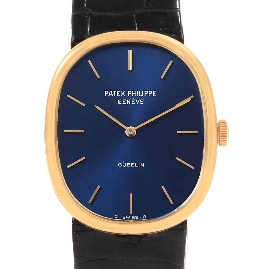 Patek Philippe Golden Ellipse 18k Yellow Gold Blue Dial Mens Watch 3848 SwissWatchExpo