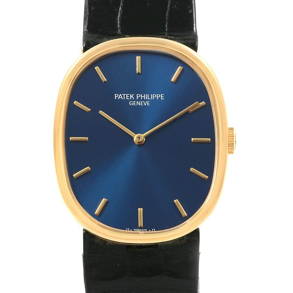 20346 Patek Philippe Golden Ellipse 18k Yellow Gold Blue Dial Mens Watch 3848 SwissWatchExpo