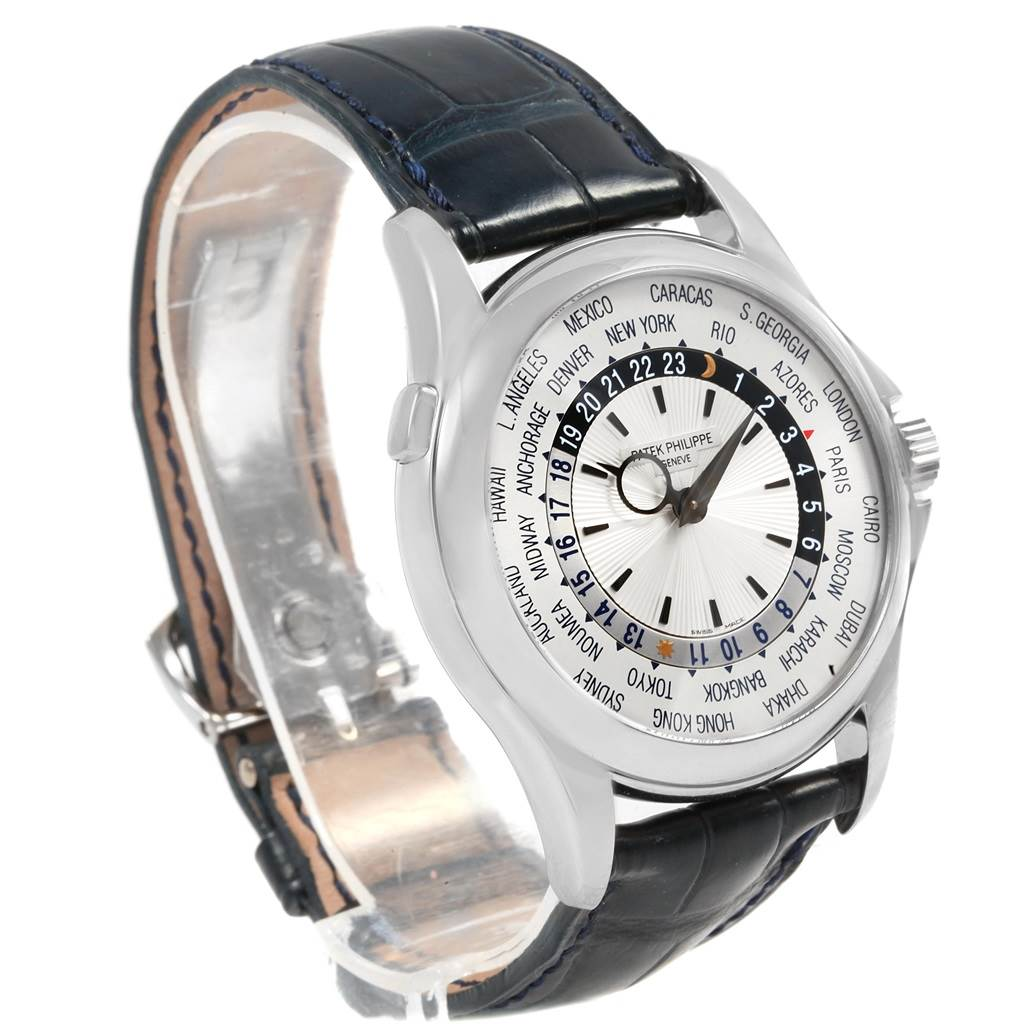 20661 Patek Philippe World Time Complications White Gold Watch 5130 Box Papers SwissWatchExpo
