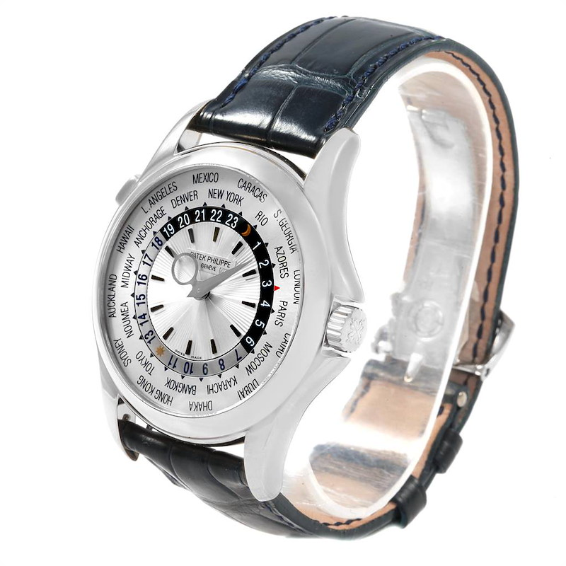 Patek Philippe World Time Complications White Gold Watch 5130 Box Papers SwissWatchExpo