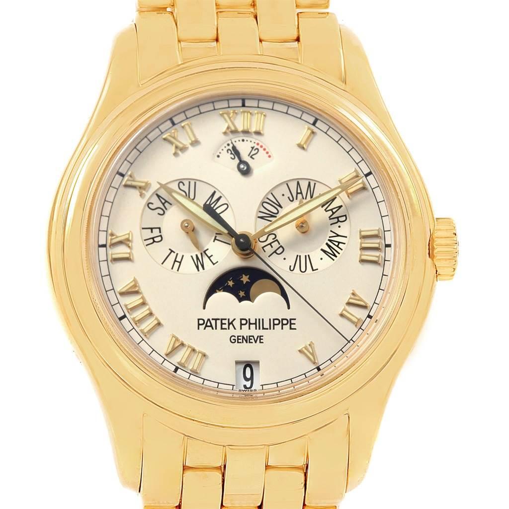 Patek philippe annual calendar moonphase yellow gold mens watch 5036 for Patek philippe moonphase