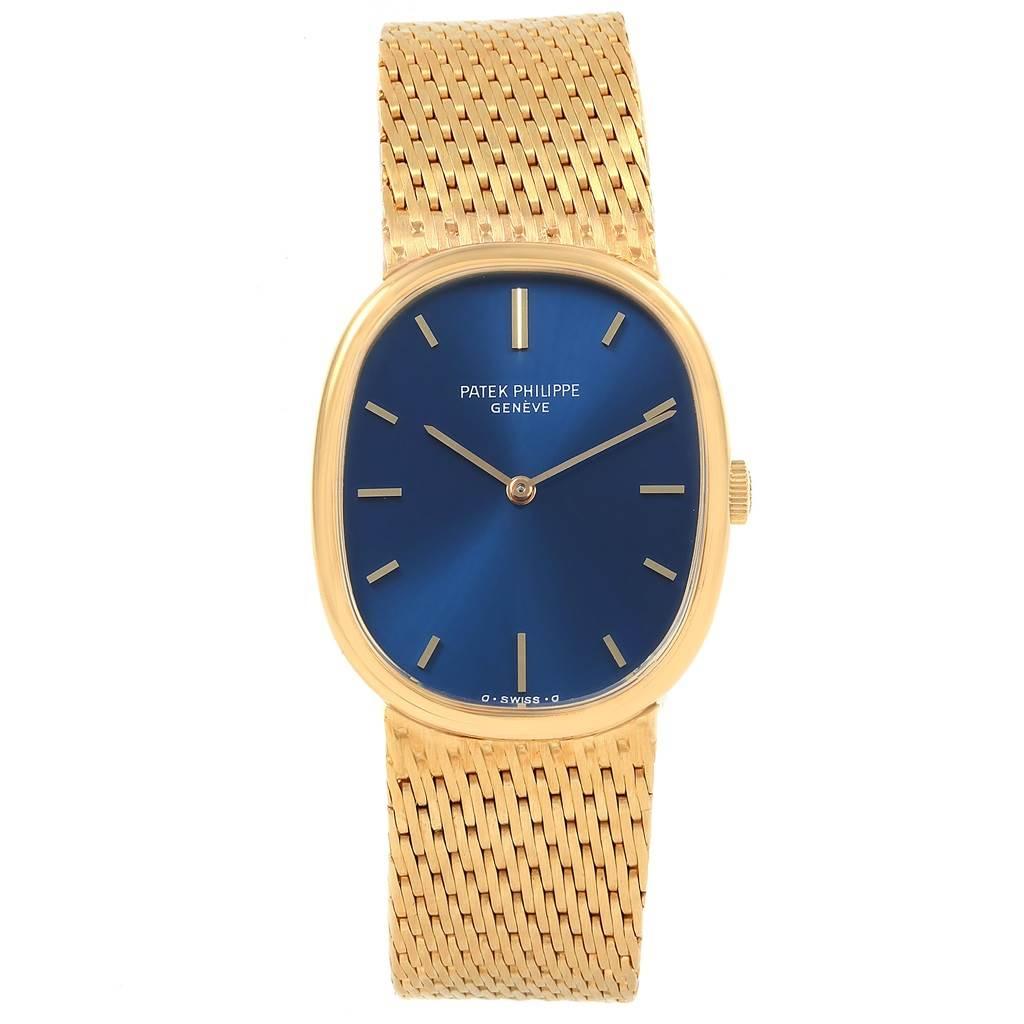 21031 Patek Philippe Golden Ellipse 18k Yellow Gold Blue Dial Mens Watch 3548 SwissWatchExpo