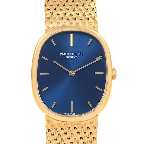 Photo of Patek Philippe Golden Ellipse 18k Yellow Gold Blue Dial Mens Watch 3548